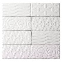 Catalina Deco White 3 in. x 6 in. x 8 mm Ceramic Floor and Wall Subway Tile (8 Tiles Per Unit)
