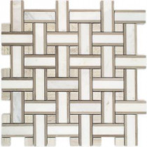 Yarn Jute 12-1/2 in. x 12-1/2 in. x 10 mm Polished Marble Mosaic Tile