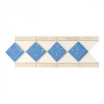 Fashion Accents Arctic White/Lagoon 4 in. x 11 in. Stone and Glass Decorative Wall Tile