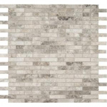 Tundra Gray Interlocking 12 in. x 12 in. x 10 mm Polished Marble Mosaic Tile (10 sq. ft. / case)