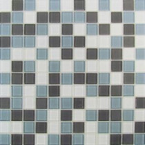 Self Adhesive Gray/Blue 12 in. x 12 in. x 5 mm Glass Mosaic Tile