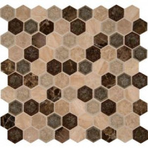 Kensington Hexagon 12 in. x 12 in. x 8 mm Glass Stone Mesh-Mounted Mosaic Wall Tile (10 sq. ft. / case)