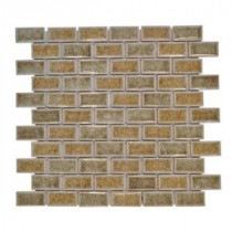 Silver Quill Crackle 12 in. x 12 in. x 8 mm Glass Mosaic Wall Tile