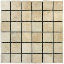 Travertino Beige 12 in. x 12 in. x 10 mm Porcelain Mesh-Mounted Mosaic Floor and Wall Tile (8 sq. ft. / case)