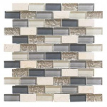 Cedar Cove 12 in. x 12 in. x 8 mm Glass Travertine Mosaic Wall Tile