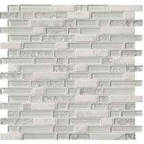 Delano Blanco 12 in. x 12 in. x 6 mm Glass Stone Mesh-Mounted Mosaic Tile (15 sq. ft. / case)