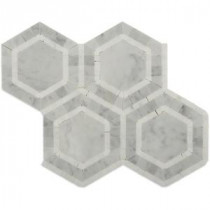 Zeta Thassos 10-3/4 in. x 12-1/4 in. x 10 mm Polished Marble Mosaic Tile
