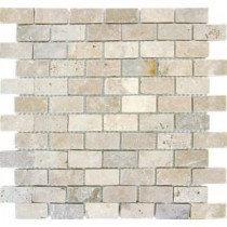 Chiaro Brick 12 in. x 12 in. x 10 mm Tumbled Travertine Mesh-Mounted Mosaic Tile