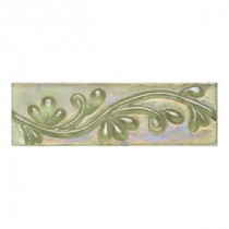 Cristallo Glass Peridot 3 in. x 8 in. Vine Glass Accent Wall Tile