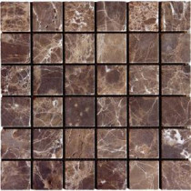 Emperador Dark 12 in. x 12 in. x 10 mm Tumbled Marble Mesh-Mounted Mosaic Tile (10 sq. ft. / case)