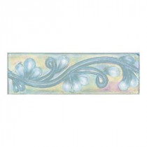 Cristallo Glass Aquamarine 3 in. x 8 in. Glass Vine Accent Wall Tile