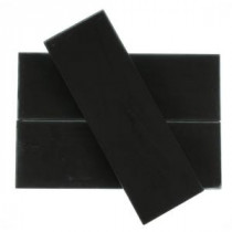 Contempo 4 in. x 12 in. x 8 mm Classic Black Frosted Glass Floor and Wall Tile