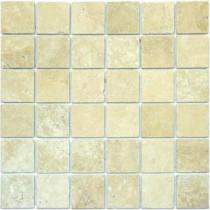 Chiaro 12 in. x 12 in. x 10 mm Tumbled Travertine Mesh-Mounted Mosaic Tile