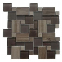 Opera Glass Bel Canto Dark 12 in. x 12 in. x 7.93 mm Glass and Marble Mosaic Wall Tile (10 sq. ft. / case)