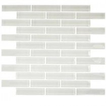 Contempo Bright White Big Brick 12 in. x 12 in. x 8 mm Glass Mosaic Floor and Wall Tile