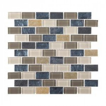 Heritage Ocean Brick 11.75 in. x 13.375 in. x 8 mm Glass and Quartz Mosaic Wall Tile